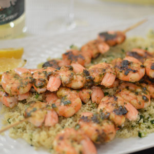 Prawn Kebabs with Couscous