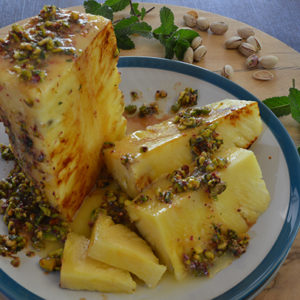 Roast pineapple with butterscotch sauce